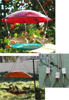 Bird Feeder. used traffic lights. eco friendly recycled birdfeeder.