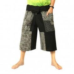 Pantalones cortos pescador tailandés pantalones cortos del remiendo negro