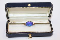 Magnificent Antique Arts and Crafts 18k Gold Black Opal Bar Pin 3.44g
