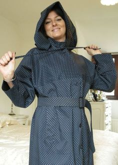 A snug, pretty and uniquely feminine mackintosh in rubber lined NAVY cotton with polka-dot design. The single texture fabric is rubberised in either glossy black or matt black natural rubber. Rubber Raincoats, Hooded Raincoat, Raincoats For Women, Rain Wear, Classic Style, Going Out, Polka Dots, Women Wear, High Neck Dress