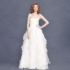 J Crew Waterfall Inspired Organza Wedding Dress with Ruffle Tiered Skirt | eBay