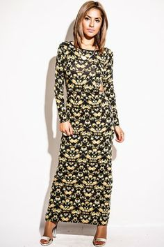 Yellow Flowers  /  Trendy Cute PLUS SIZE antique yellow/black rose floral long sleeve cut out evening maxi dress fo cheap | Affordable Clothing | 1015 store
