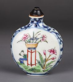 19th C. Blue and White Wucai Snuff Bottle