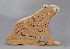 Frog Wooden Animal Puzzle Handmade Waldorf Toy for Toddlers Kids Girls Boys. $14.00, via Etsy.