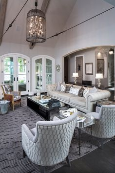 A look inside interior designer, Jill Huse's french-inspired home in Indianapolis Indiana. #livingroom #greatroom (Photos by Tony Valainis)
