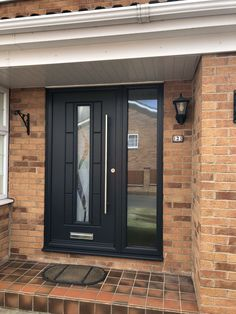 Grey Front Doors, Front Door Porch, House Front Door, Glass Front Door, Glass Door, Porch Windows, House Windows, Door Steps, Composite Door