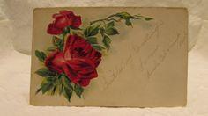 Vintage Postcard Shabby Chic  Embossed  Roses 1911