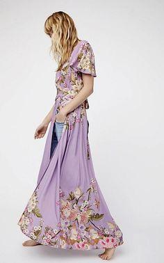 NWT Free People Spell & The Gypsy Purple Floral Bird Wrap Dress Maxi Dress XS #SpellTheGypsy #MaxiDresswrapdress