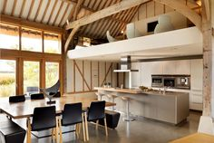 Like - mezzanine eco barn conversion in Vale of the White Horse - bulthaup kitchen White Contemporary Kitchen, Contemporary Barn, Modern Barn, Modern Country, Contemporary Bedroom, Modern Industrial, Country Style, Modern Farmhouse, Barn Conversion Interiors