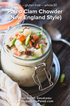 Paleo Clam Chowder Recipe New England Style This Creamy Dreamy Paleo Clam Chowder Recipe Will Knock Your Socks Off It 39 S Dairy Free And The Broth Is Loaded With Hidden Veggies Ftw Paleo Whole 30, Whole 30 Recipes, Clam Chowder New England, Paleo Recipes, Soup Recipes, Seafood Recipes, Stupid Easy Paleo, Clam Chowder Recipes, Paleo Soup