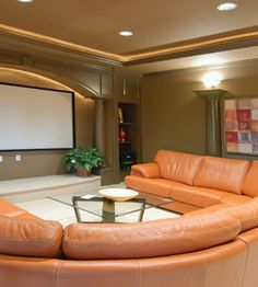 Home Theater with Custom Image Acoustic Panels. Improve sound quality using acoustic panels printed with your own images.