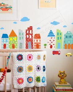 фото наклейки на стены в комнату мальчика город, наклейки на стены солнечный город фото, виниловые наклейки на стены и мебель дома и машины