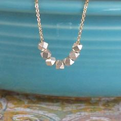 Tiny Silver Faceted Beads Nugget 14k Gold Filled Chain 925 Sterling Silver 970 Fine Silver Minimalist GeometricNecklace