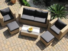 Lounge Wohnlandschaft Sofa 2 Sessel Tisch 2 Hocker Rattan Polyrattan Geflecht  Gartenmöbel Natur Beige