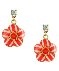 Color-popping accessories: Betsey Johnson Stripe Flower Drop Earrings.