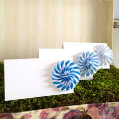 Origami Place Cards, Stripe Wedding Escort Cards - paper pinwheels - Favor sets of 20 any color Stripe Wedding, Carnival Wedding, Handfasting, Diy Supplies, Wedding Place Cards, Paper Pinwheels, Paper Flowers, Party Time, Gift Tags