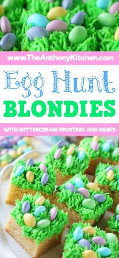 Egg Hunt Blondies Ready for the cutest Easter dessert ever? Look no further than this adorable blondie bar cookie stacked with buttercream frosting made to look like grass and M&Ms for eggs! The perfect holiday dessert! Cute Easter Desserts, Easter Dinner Recipes, Kid Desserts, Easter Brunch, Easter Treats, Holiday Desserts, Holiday Recipes, Delicious Desserts, Easter Food