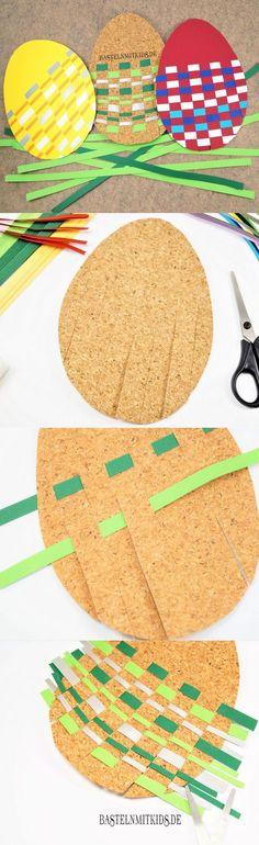 Ostereier basteln mit Kindern. Wir Weben uns Ostereier mit Papierstreifen. Für Kindergartenkinder und Schulkinder gut zum Nachbasteln geeignet.