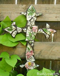 """Broken China Mosaic Fleur de Lis Wall Cross made with broken Franciscan Desert Rose plate, stamp """"made in USA"""" Available by custom order only. Mosaic Crosses, Wall Crosses, China Crafts, Cross Art, Mosaic Diy, Mosaic Projects, Mosaic Designs, Stamp Making, Desert Rose"""
