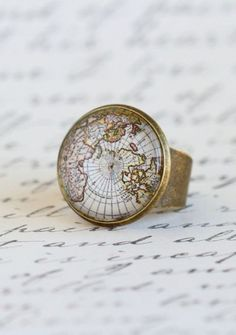 Vintage Style Map Ring, Gift For Traveler