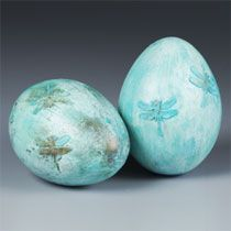 Decorated Dragonfly Easter Egg    By: Kathleen George for STYROFOAM Brand Foam    It's so easy to make these beautiful dragonfly eggs. All you need is a craft punch, STYROFOAM™ Brand Foam, and acrylic finishes. In no time you will be able to create an artistic treasure for your home or Easter basket.