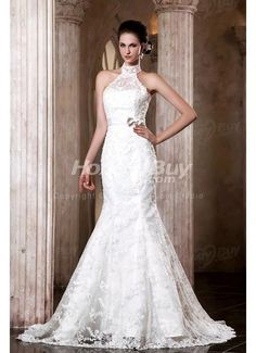 High Neck Applique Column Antique Wedding Dresses