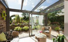 interior sunroom leading to country garden