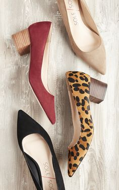Low block heel pumps in taupe, merlot and black suede or leopard print haircalf | Sole Society Andorra