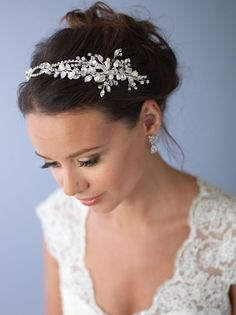 Pearl & Crystal Bridal Headband Side Wedding Headpiece by USABride
