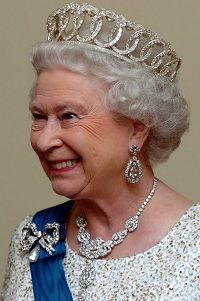 """The Vladimir tiara"" without pearls or emeralds.   Queen Elizabeth II"