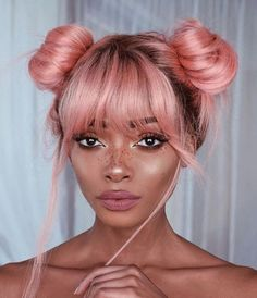 Pastel Pink Hair - wig hairstyle with a double top knot and bangs