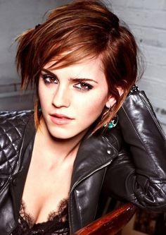 Emma Watson - Auburn layered bob haircut with side part and side swept piecey bangs hairstyel