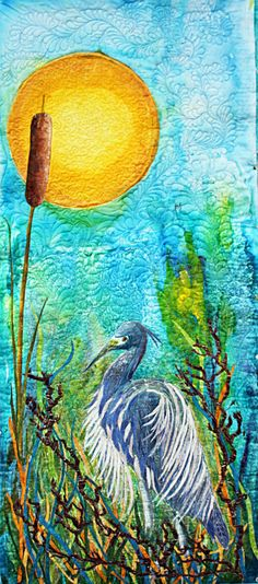 Asian Hand Painted Art Quilt Heron under the moon