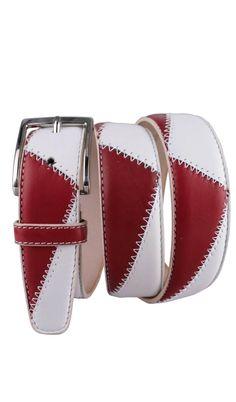 Cintura Cucita 3,5 CM BICOLORE Rosso Gucci/Bianco