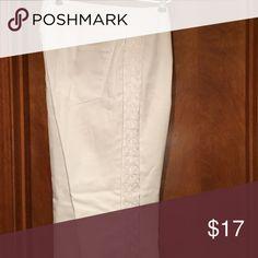 Decorative seam white denim Decorative leg denim Jean Coldwater Creek Jeans Straight Leg