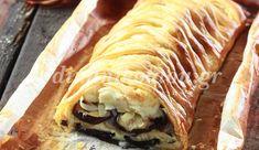 Μελιτζανόπιτα με τυριά και πλεχτή σφολιάτα Flan, Quiche, Greek Recipes, Cheesesteak, Sandwiches, Pork, Pizza, Cooking, Ethnic Recipes