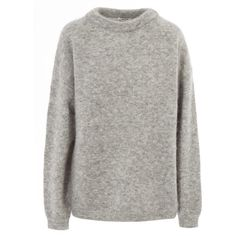 Acne Studios Light Grey Dramatic Mohair Classic Jumper ($305) ❤ liked on Polyvore featuring tops, sweaters, long sleeve tops, collared shirt, long sleeve shirts, light grey sweater and collared shirt sweater