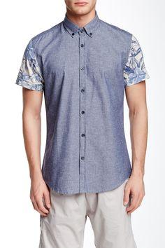 Contrast Sleeve Slim Fit Shirt