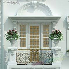 white exterior, Classical or Mediterranean style, urns with flowers on the balcony Classic House Exterior, Modern Farmhouse Exterior, House Outside Design, House Front Design, Balcony Design, Window Design, Balcon Juliette, Neoclassical Architecture, Facade House