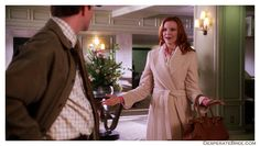 Bree Van De Kamp and George at hotel long beige tan peach pale pastel colored coat trench tie waist handbag silk scarf Desperate Housewives outfit clothes style fashion season 2 Bree Van De Kamp, Desperate Housewives, Fashion Seasons, Fashion Outfits, Style Fashion, Peach, Silk, Season 2, Coat