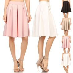 Women Career Solid Boxy Pleated Banded Waist Stretch A-Line Midi Flare Skirt - Size Type: Junior / Young Contemporary - Runs one size smaller than the regular women's - Special Style: Box pleated soli