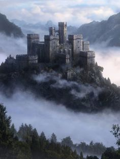 Fantasy Art Watch — Over the Fog by Jordi Gonzalez Escamilla Fortified keep in the Schulterspur mountains of the southern Crown Homelands Fantasy City, Fantasy Castle, Fantasy Places, Fairytale Castle, Fantasy Art Landscapes, Fantasy Landscape, Landscape Art, Fantasy Concept Art, Fantasy Artwork