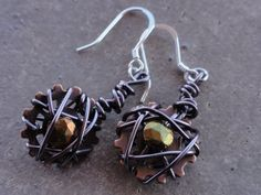 cool wire wrapped steampunk earrings from ahjanepotter