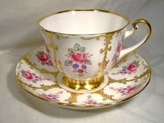 Royal Chelsea 4991-A Roses Gold Tea Cup and Saucer c1950s