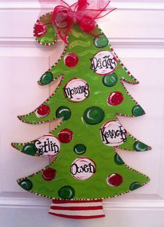 Christmas Door Decor by Southern Charm Decor. Hanger Christmas Tree, Christmas Tree Painting, Christmas Gift Decorations, Christmas Wood, Christmas Signs, Holiday Crafts, Christmas Holidays, Christmas Wreaths, Christmas Ideas