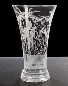 "@@ Edward Hald (Swedish, 1883-1980), Orrefors, ""Monkeys"" Engraved Glass Vase."