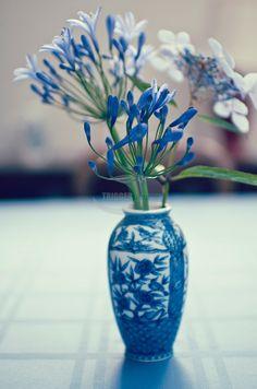 Blue and white china bud vase