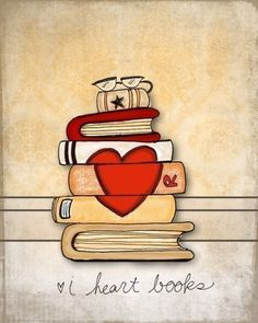 i've seen paintings on the pages/spines of stacked books; always looks too hard, but a simple heart design i could do.