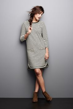 January loves: Striped dresses and suede Chelsea boots.