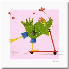 MITARANGA Trotinette Art Carte, Chicken Art, Little Fish, Owl Bird, Hens, Painting Inspiration, Illustrations, Rooster, Stencils